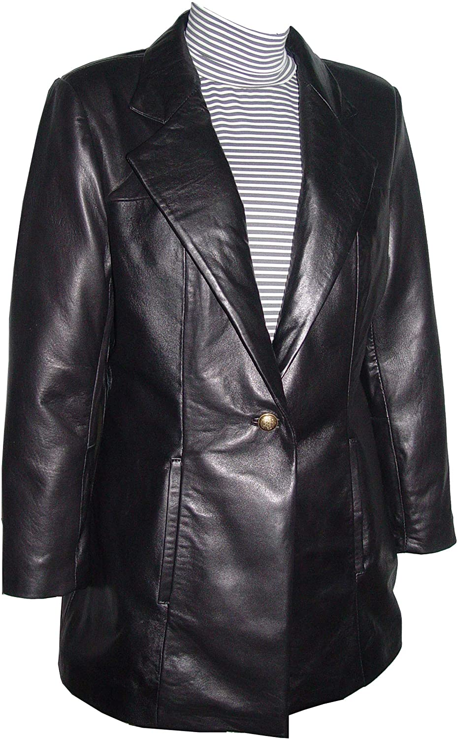 Paccilo 12P Size Soft Lambskin Coat Leather for Women Black