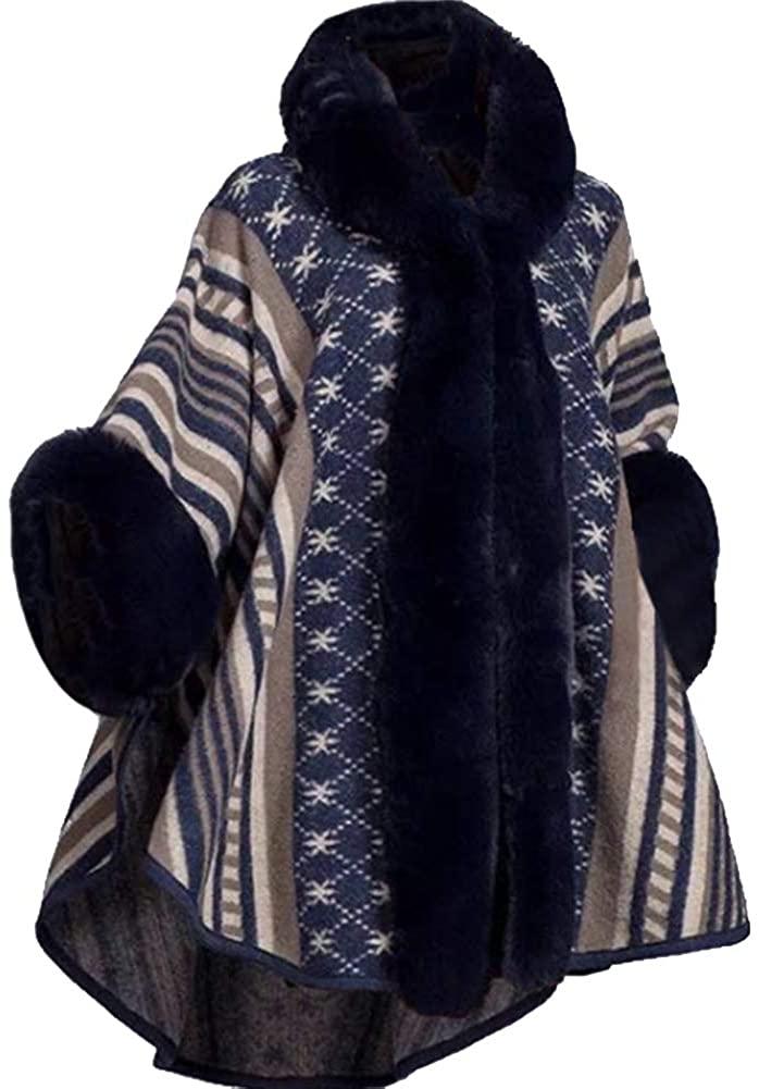 Helan Women's Luxury Style Faux Rex Rabbit Fur Coat Cloak Coat Shawl Coat