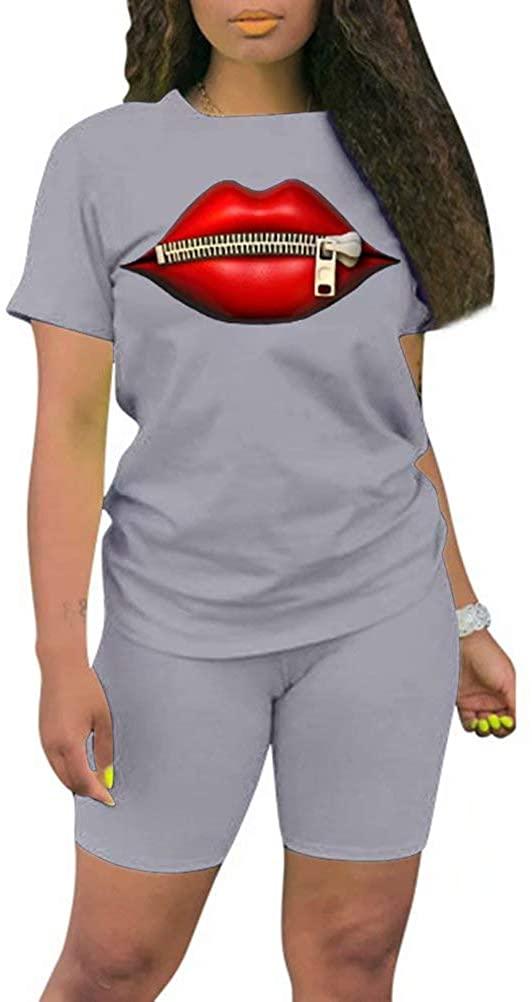 JURIS Women 2 Piece Outfits Short Sleeve Zipper Lips Print T-Shirt Tops Bodycon Shorts Set