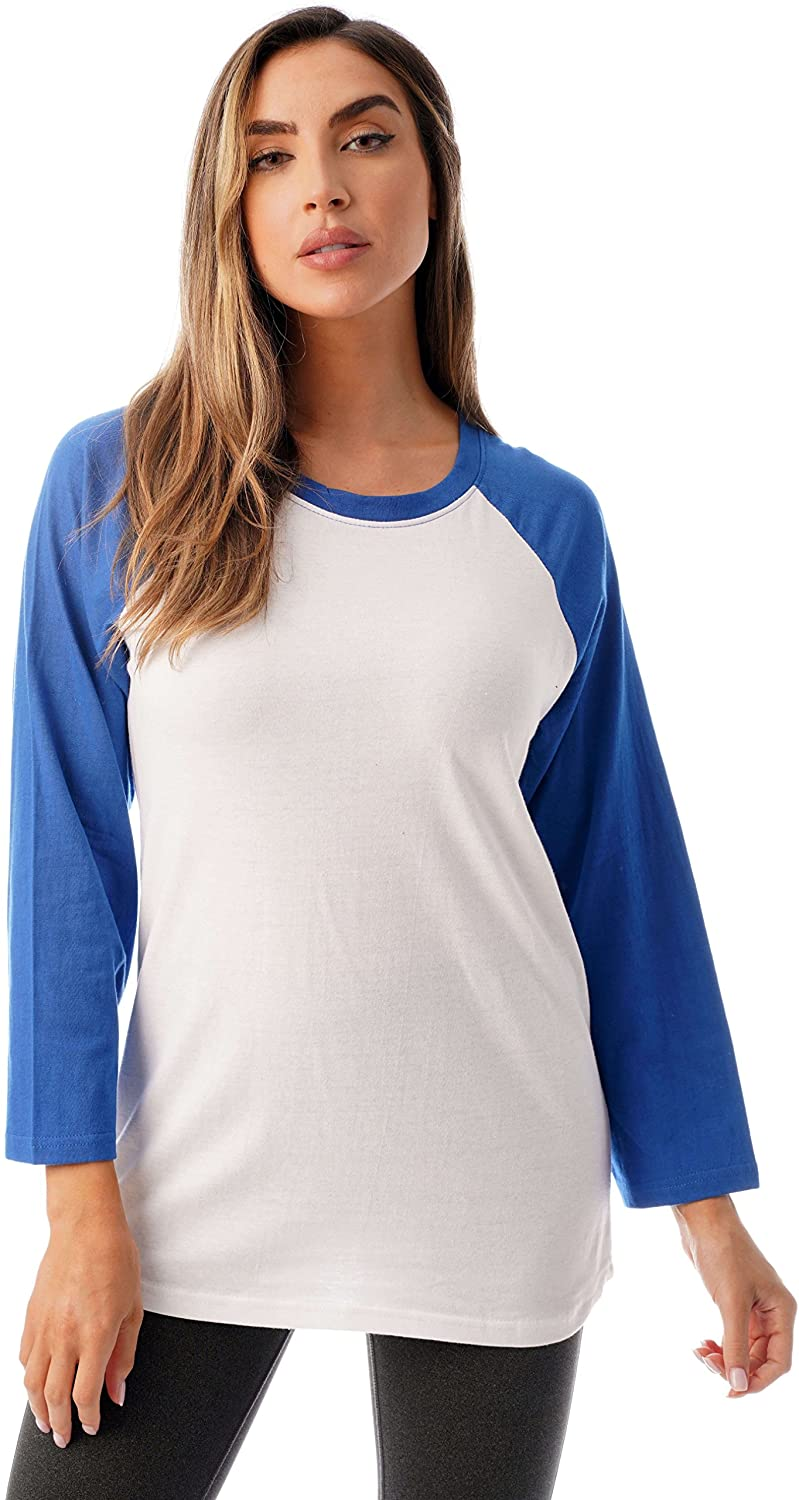 Just Love Colorblock Womens Baseball Tee Shirt with ¾ Sleeves
