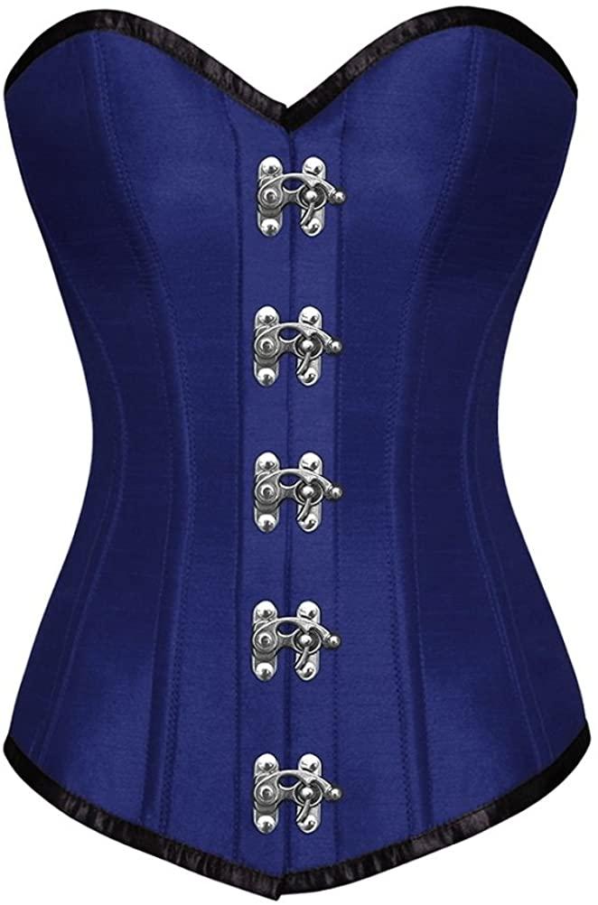 Royal Blue Satin Gothic Steampunk Bustier Waist Cincher Long Overbust Corset Top