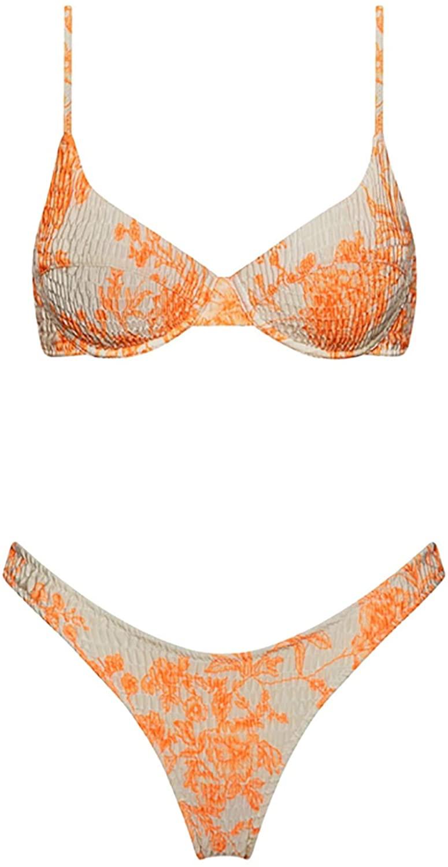 Womens Sexy Bathing Suits Underwire Swimsuit Spaghetti Strap Floral Bikini Set
