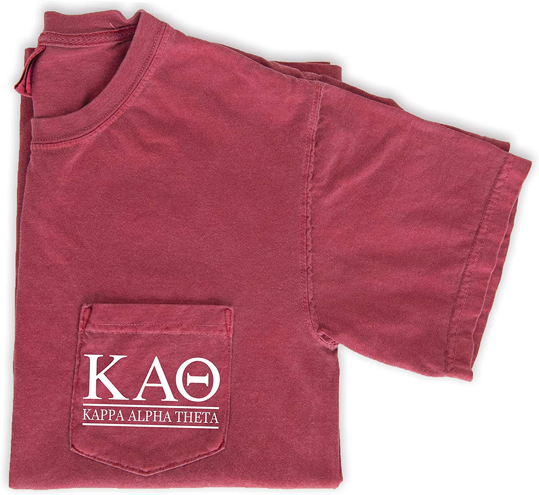 Kappa Alpha Theta Block Letters Shirt Sorority Comfort Colors Pocket Tee