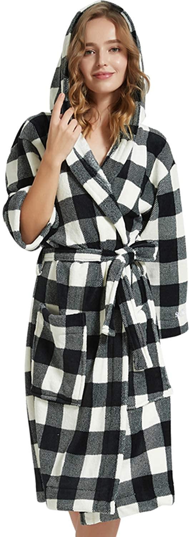 Miureal Women's Plush Robes Fleece Plaid Hooded Kimono Robe Soft Spa Bathrobe House Sleepwear with Pockets