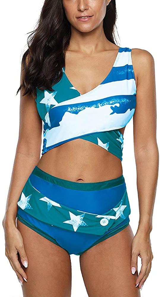 HIFUAR Womens Swimsuit Criss Cross Back Bikini Sets American Flag Sexy Summer Beachwear Two Piece Bathing Suits