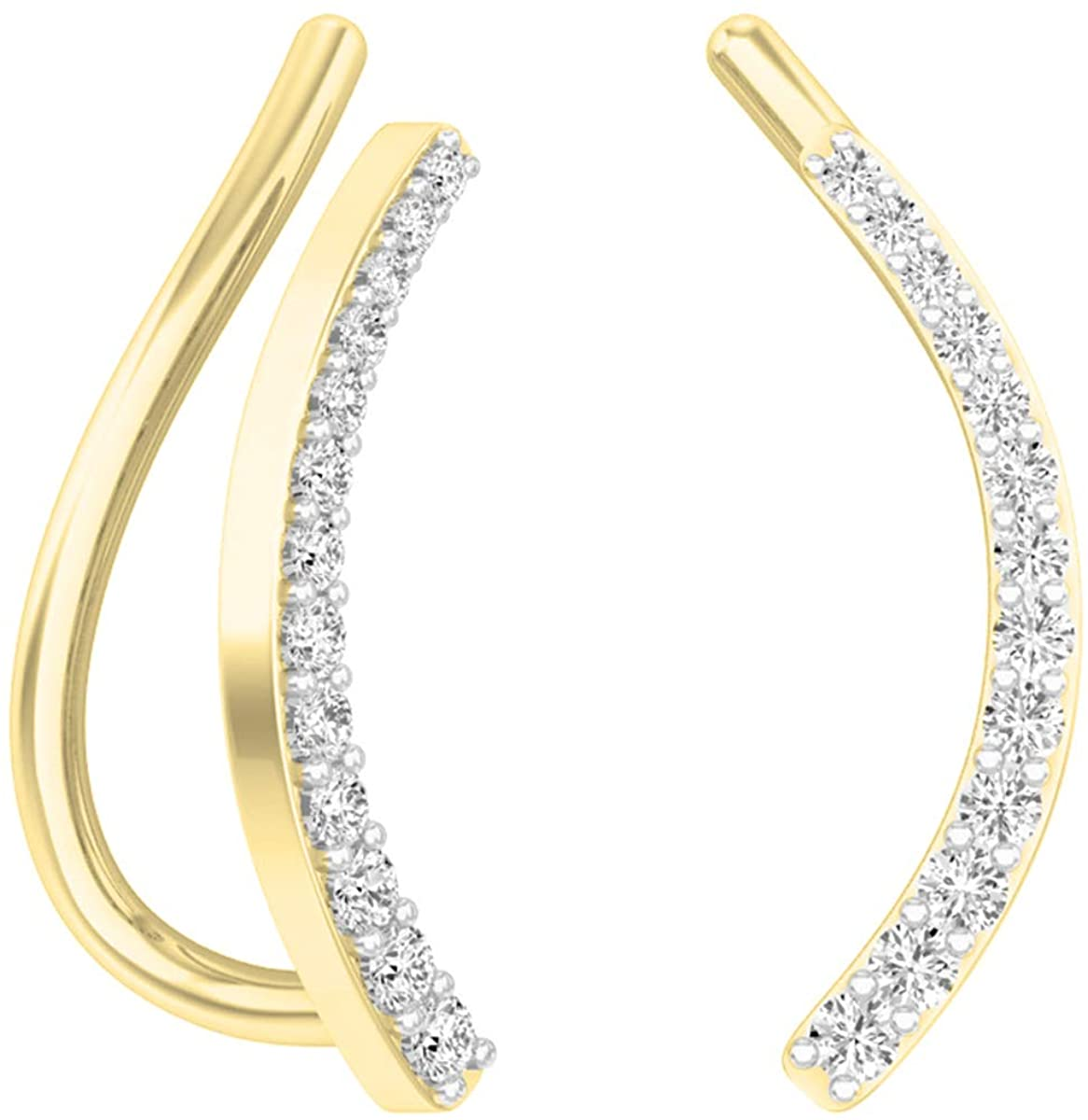 Dazzlingrock Collection 0.15 Carat (ctw) 10K Gold Round White Diamond Ladies Crawler Climber Earrings