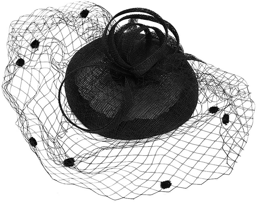 Women's Flower Linen Mesh Fascinator Hair Clip Hat Party Performance Wedding Veil Vintage Headband
