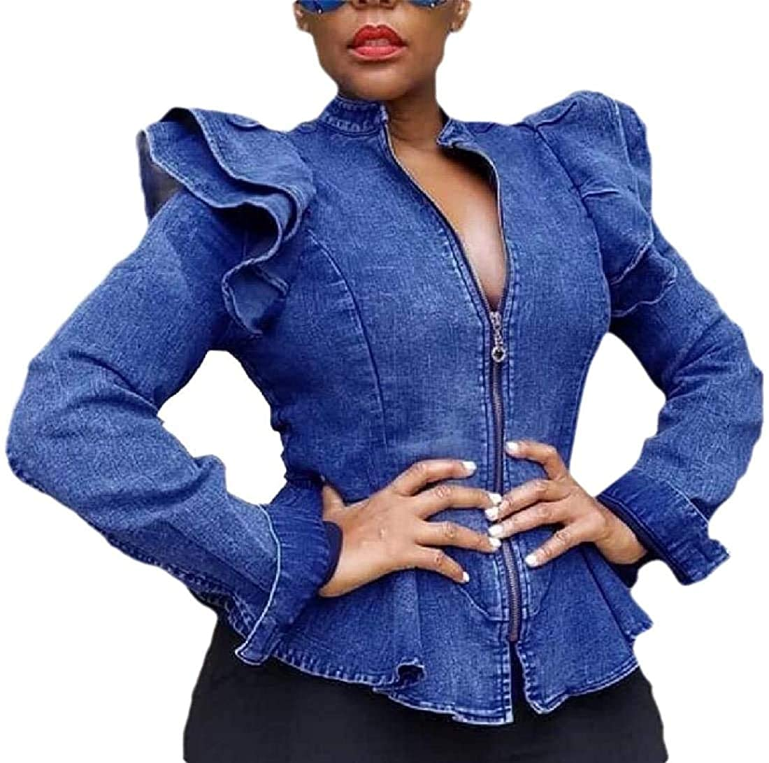 Jhsxydgy Womens Denim Jackets Zipper Up Round Neck Ruffle Coat Outwear