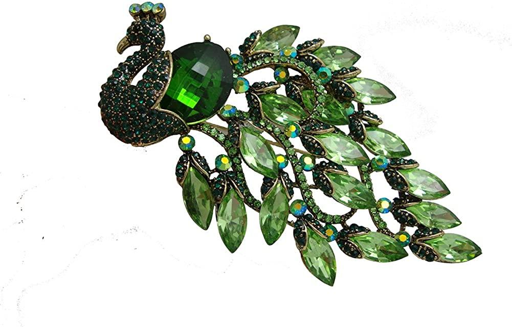 TTjewelry Elegant Peacock Bird Austrian Crystal Brooch Pin