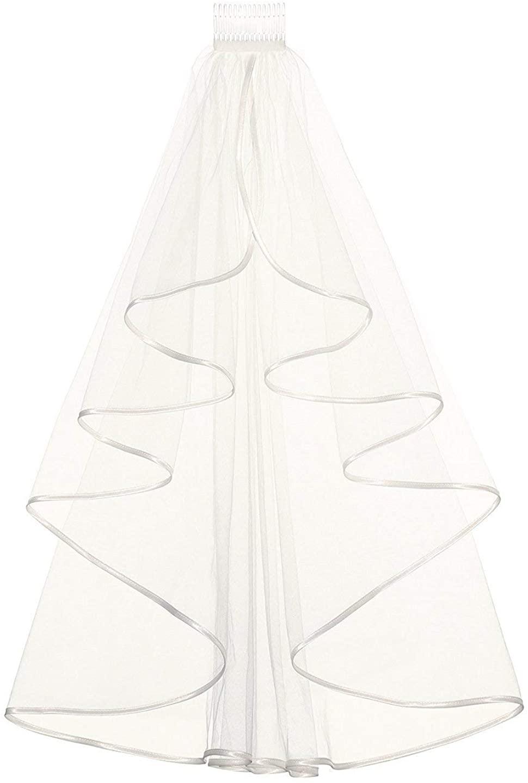 Women's Tulle Bridal Veil Short Center Cascade Wedding Veil 2 Layer Ribbon Edge With Comb