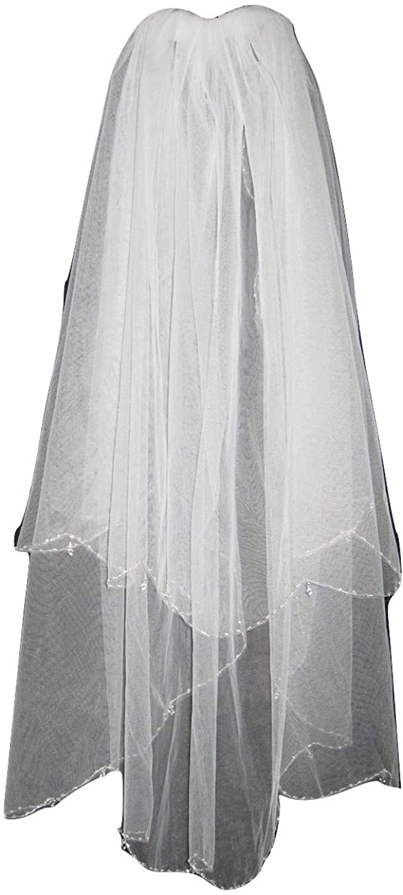 2T 2 Tier White Elbow Wedding Gown Bridal Dress Beaded Edge Crystal Drops Veil v112ewt