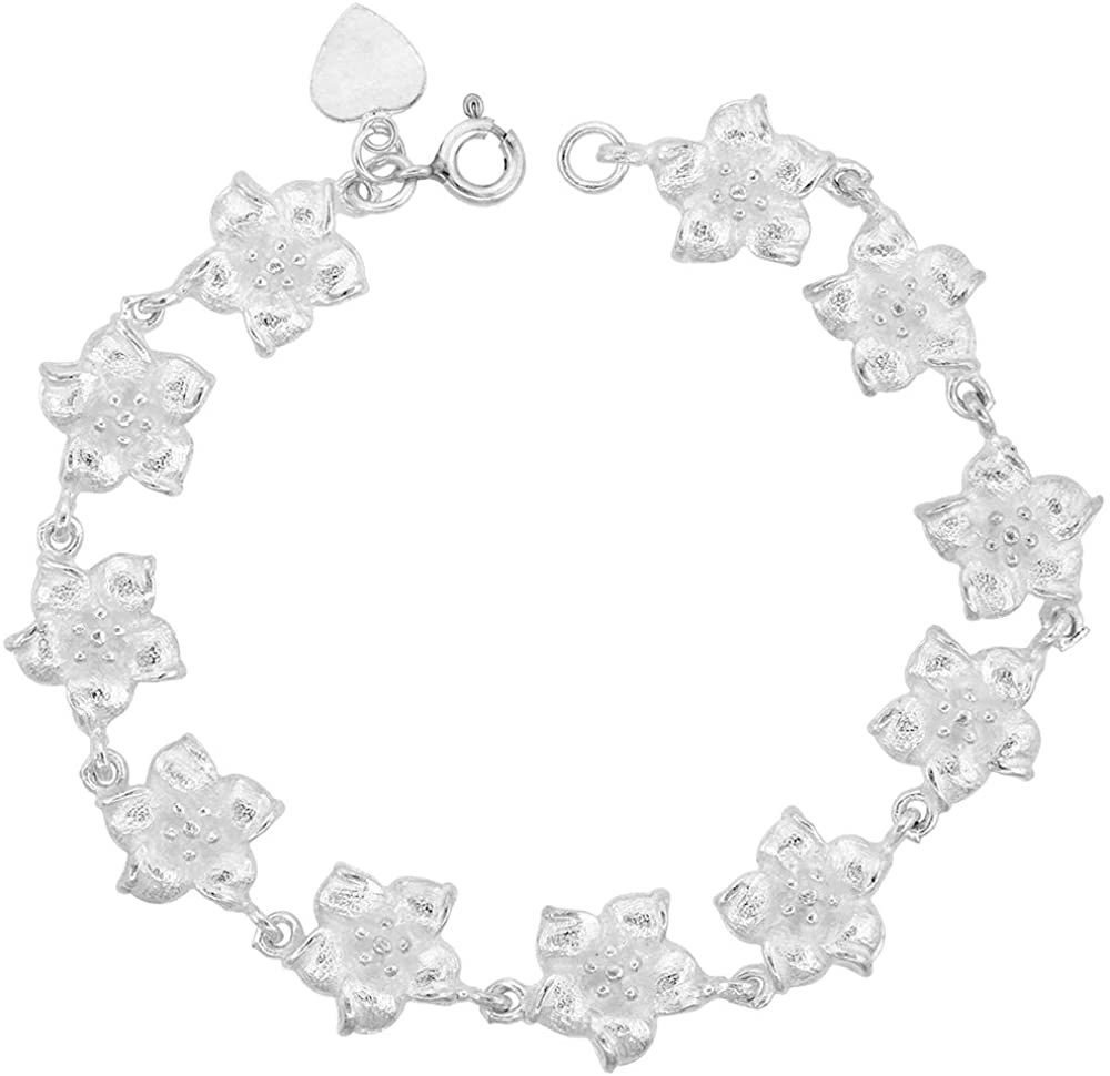 1/2 inch wide Sterling Silver Hibiscus Flower Charm Bracelet for Women 12mm fits 7-8 inch wrists