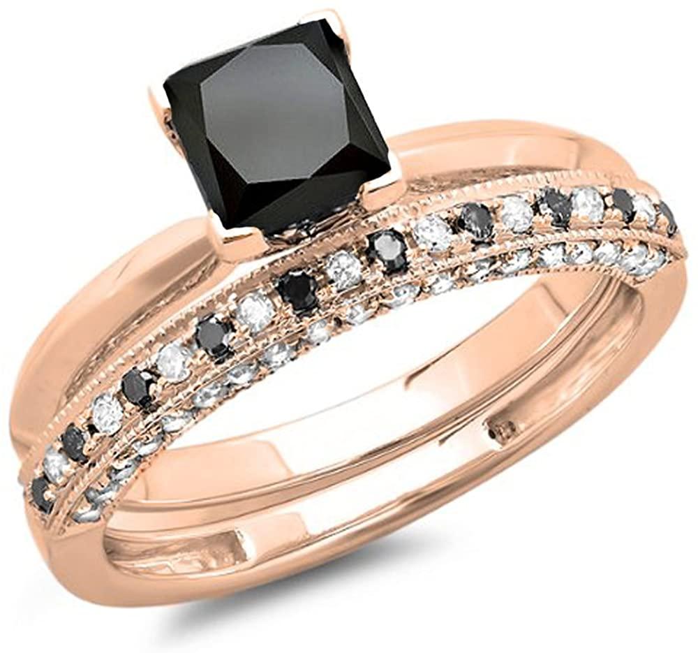 Dazzlingrock Collection 1.50 Carat (ctw) 10K Gold Princess Cut Black & Round White Diamond Bridal Engagement Ring Set 1 1/2 CT
