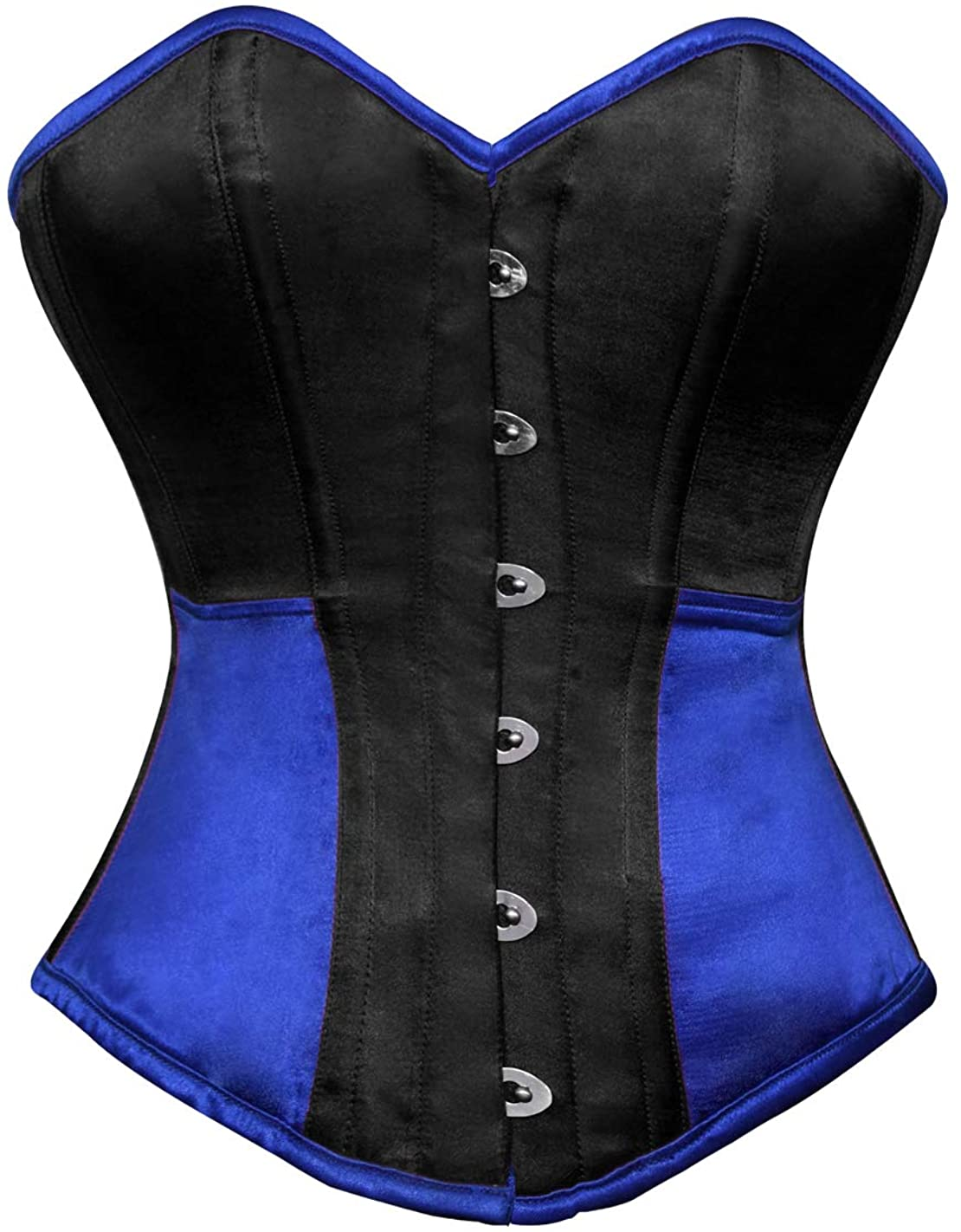 Black and Blue Corset Satin Gothic Burlesque Plus Size Costume Overbust Bustier
