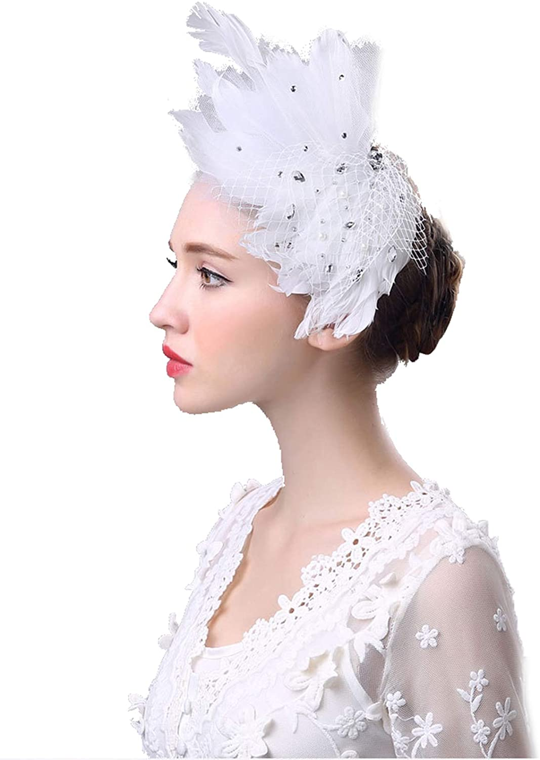 Newdeve Fascinator Bow Feather Cocktail Party Hair Clip Bridal Hat Hair Accessories