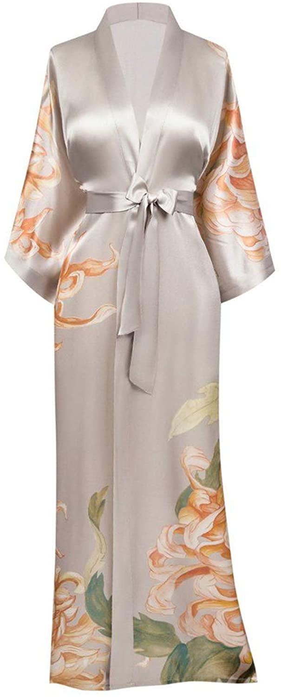bathgown Women's Silk Satin Kimono Robes Long Sleepwear Dressing Gown Printed Pattern