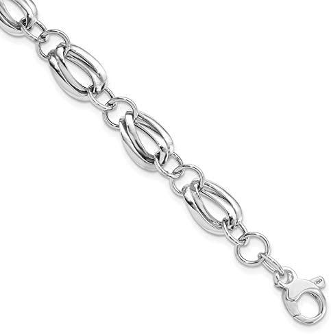 Leslie's 14K White Gold Polished Fancy Link Bracelet