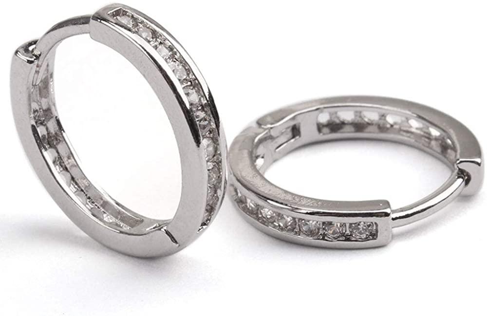 Cubic Zirconia Hoop Earrings for Women, 14K Plated Hoop Earrings, Sterling Silver Hoop Earrings, Cuff Hoop Earrings Jewelry for Women