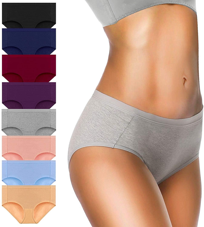 OLIKEME Womens Underwear Mid Waist Full Coverage Breathable Ladies Briefs Panties for Women 8-Pack