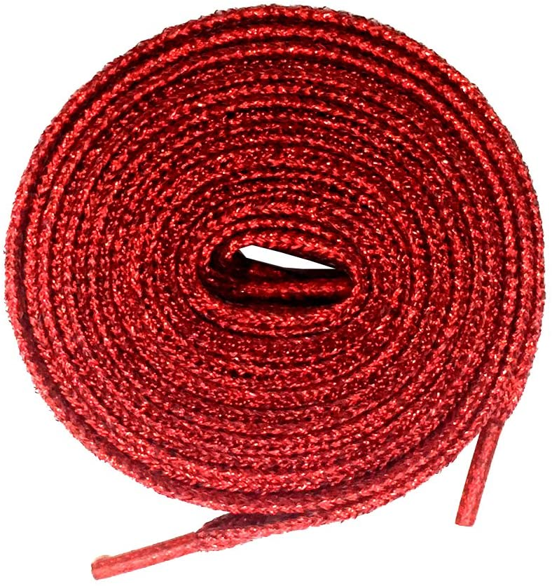 Goodlace Flat Metallic Glitter Shoelaces Bling Shoe Laces for Sneaker 45Inch Red