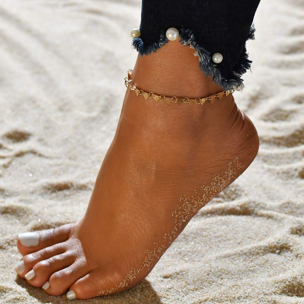 Jovono Boho Triangle Anklets Fashion Anklet Bracelets Beach Foot Jewelry for Women and Girls (Gold)