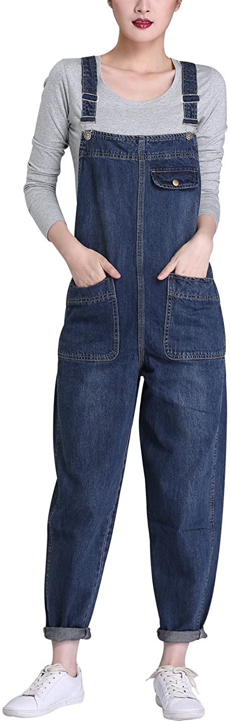 Lentta Women's Loose Baggy Denim Bib Harem Overalls Romper Jumpsuit Pants