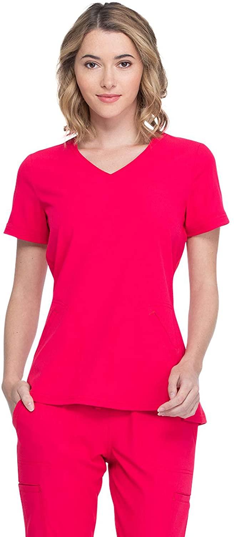 Elle Simply Polished V-Neck Top, EL604, S, Rouge