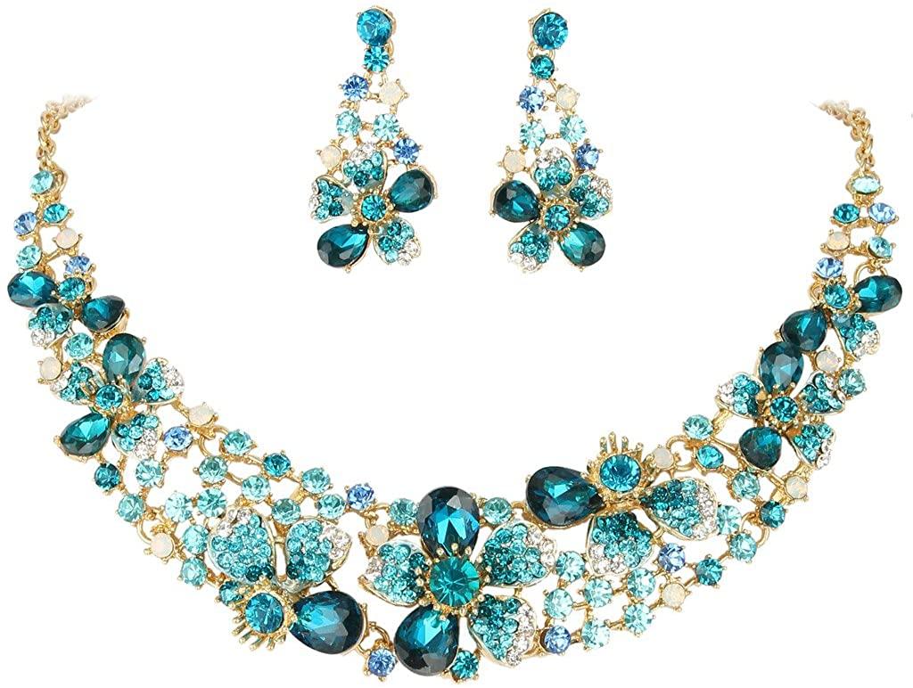 EVER FAITH Austrian Crystal Hibiscus Flower Necklace Earrings Set