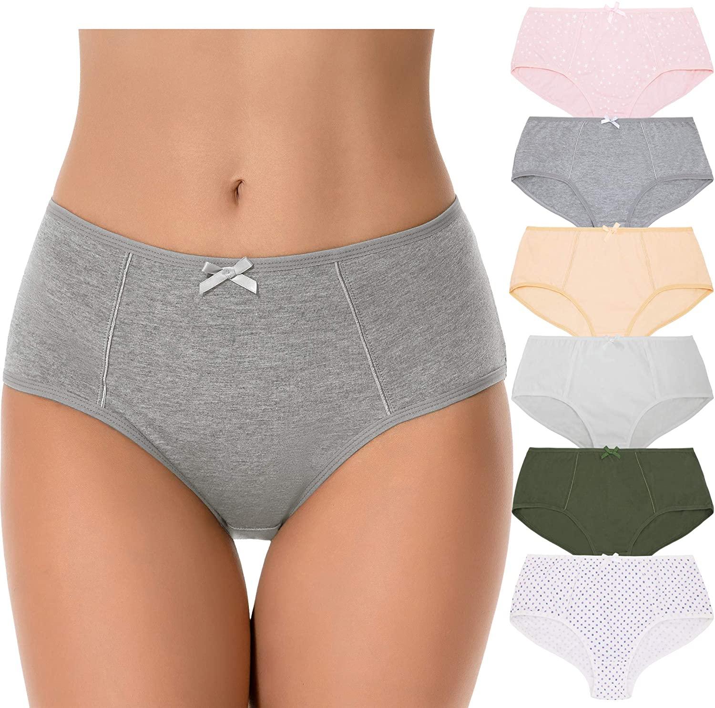 Curve Muse Womens Plus Size 100% Cotton High Waist Hipster Briefs Panties-6PK