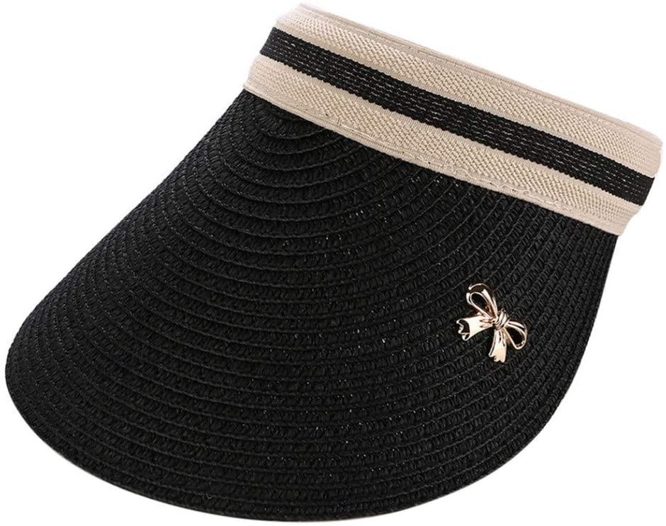 QNN Sun Hat Casual Outdoor Beach Hat Summer Woven Sun Hat Ladies Bow Empty Top Straw Hat Sun Visor,Black