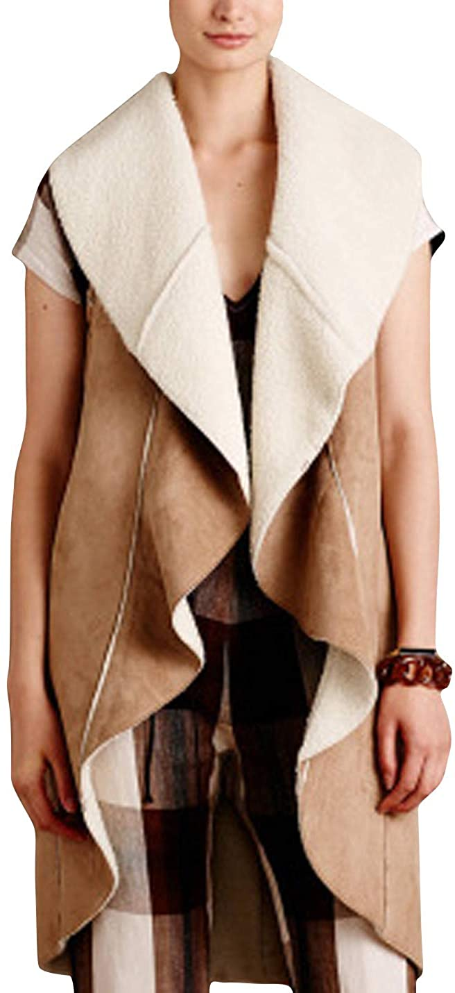 HUPOO Women's Casual Stitching Lapel Cashmere Fleece Lined Outerwear Long Suede Vests Coats