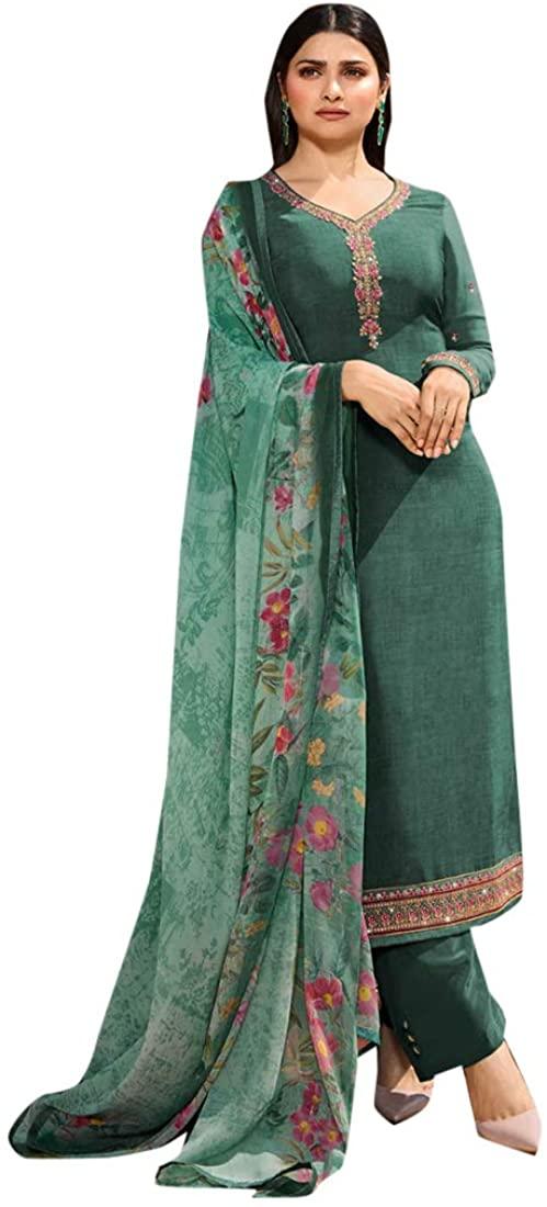 Indian Ethnic Wear Crepe Churidar Salwar Kameez Suit Muslim Women Diwali Festive Unstitch dress 8755