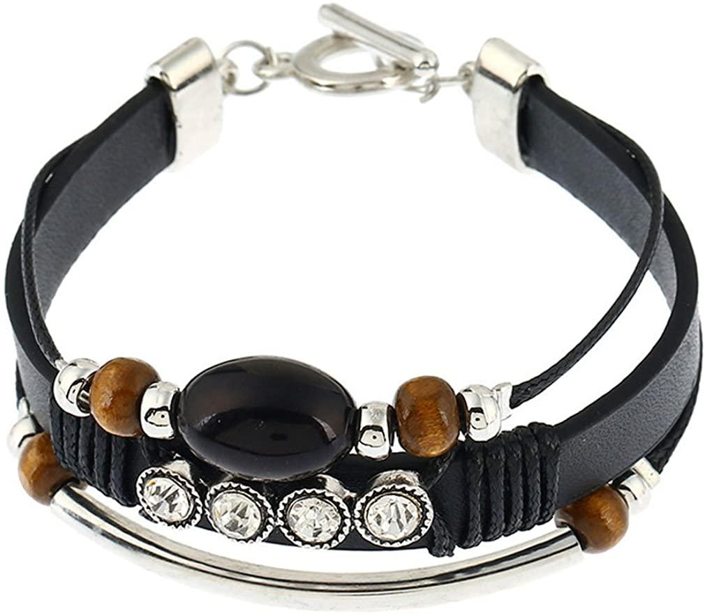 YAZILIND Bohemian Turquoise Rhinestone Board Beads Women Multi Bracelet Leather Rope Wrap Vintage Ethnic Retro Dainty