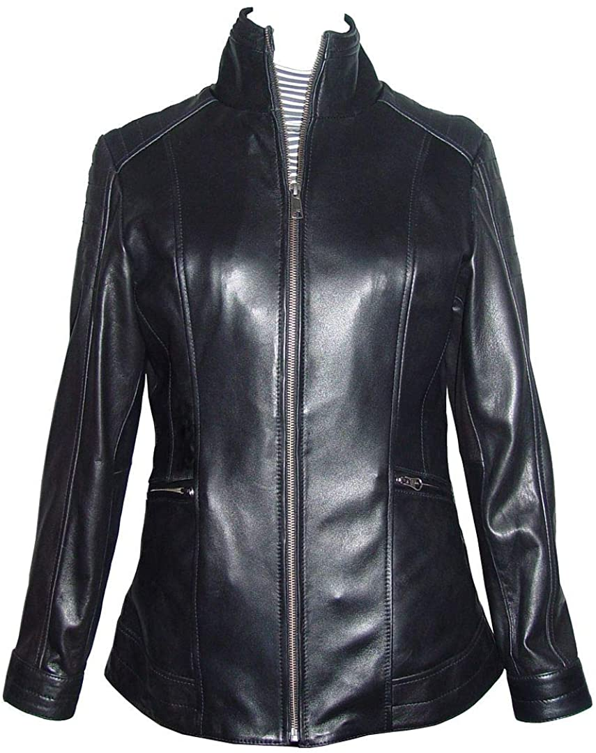 New Womens Soft Lamb Black Real Leather Casual Jackets