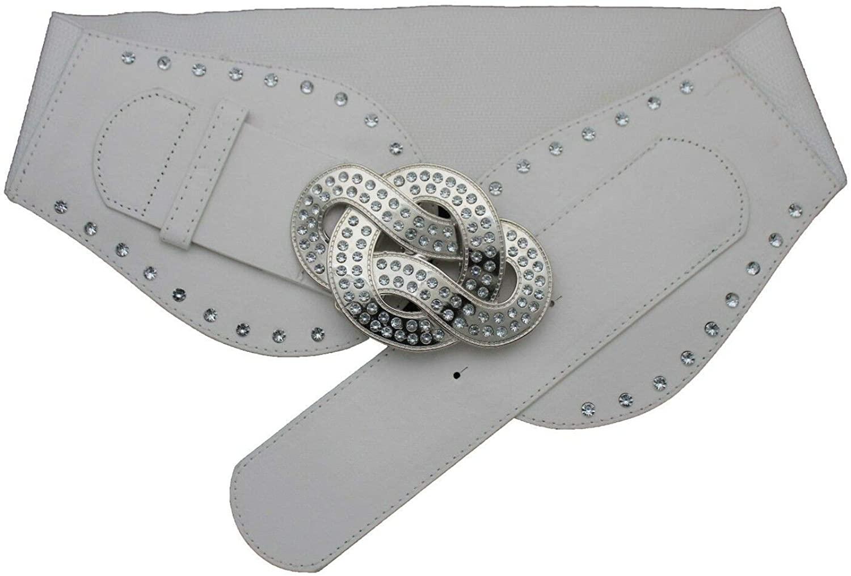 TFJ Women Classic Fashion Belt Hip High Waist Metal Chain O Charm Wave M L XL Silver