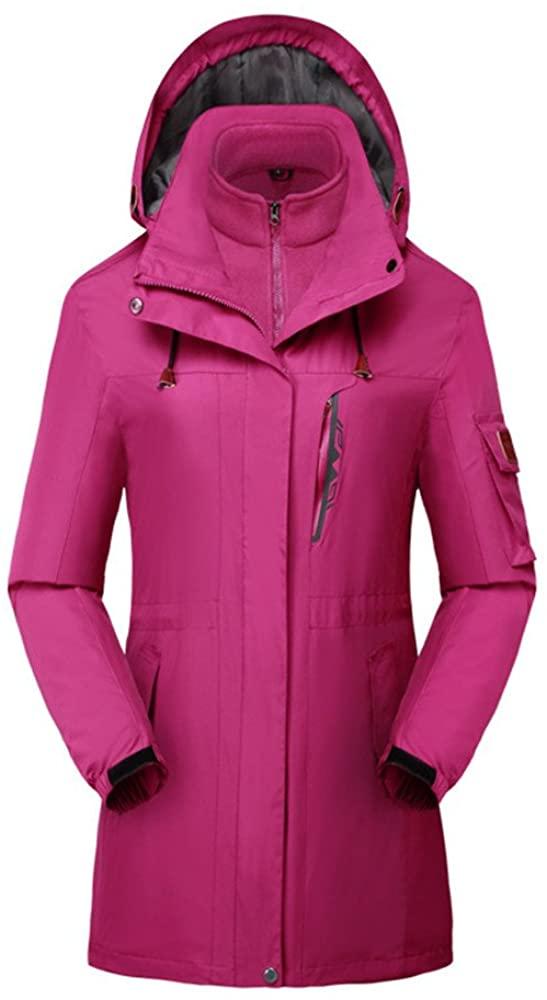Women Snow Jacket 3 in 1 Windproof Ski Snowboard Interchange Jackets Rain Coat Outwear Windbreaker