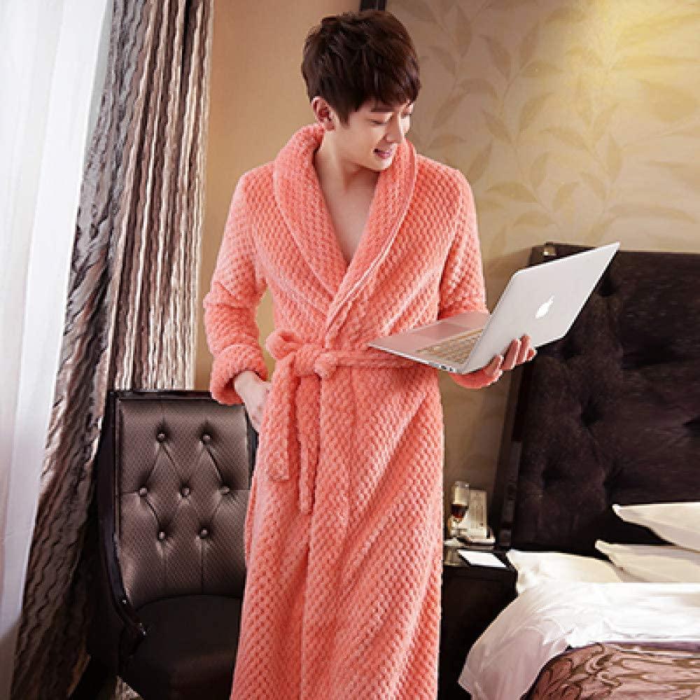 llwannr Bathrobe Robe Nightgown Sleep,Women Long Thick Warm Winter Super Bath Robe Lovers Kimono Bathrobe Men Dressing Gown Bride Wedding Bridesmaid Robes,Men Orange,L