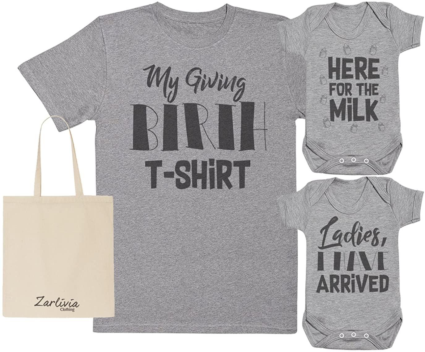 Zarlivia Clothing Arrived - Maternity Hospital Gift Set Bag with Hospital T-Shirt & 2X New Baby Bodysuit