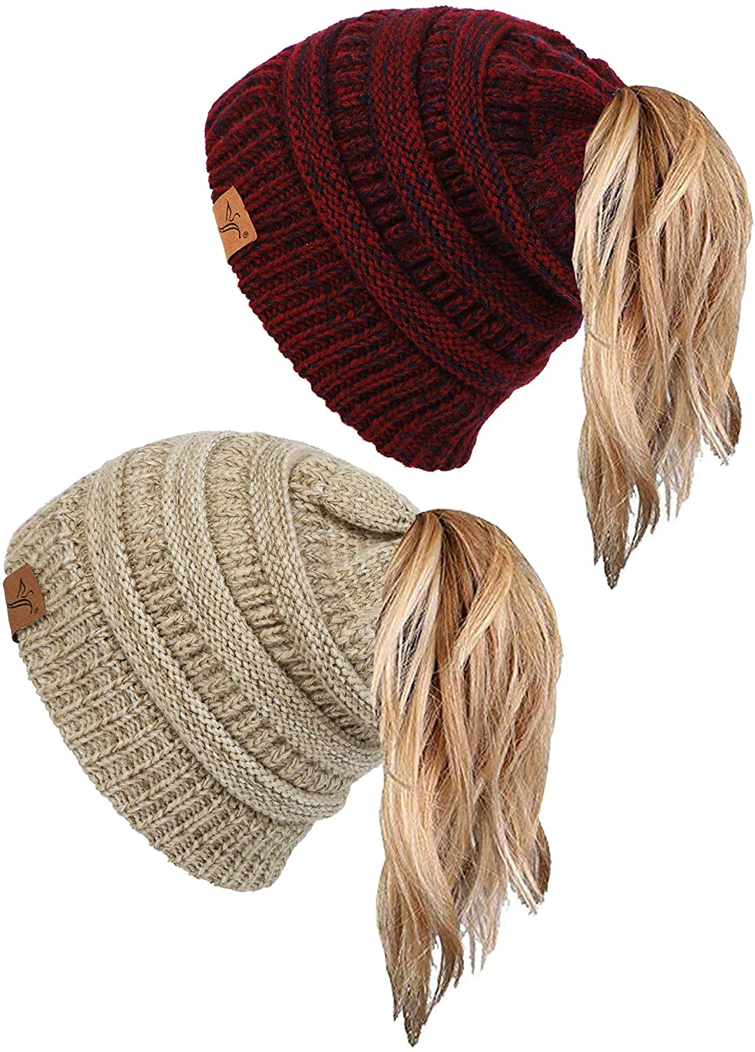 Soul Young Ponytail Messy Bun Beanie Tail Knit Hole Soft Stretch Cable Winter Hat for Women
