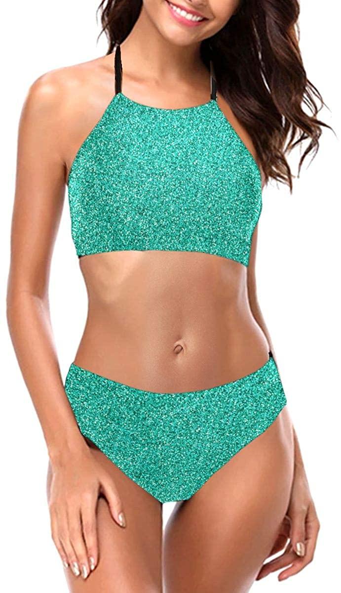 Womens Bikini Set Mermaid Teal Green Glitter Sexy Halter Two Piece Swimwear