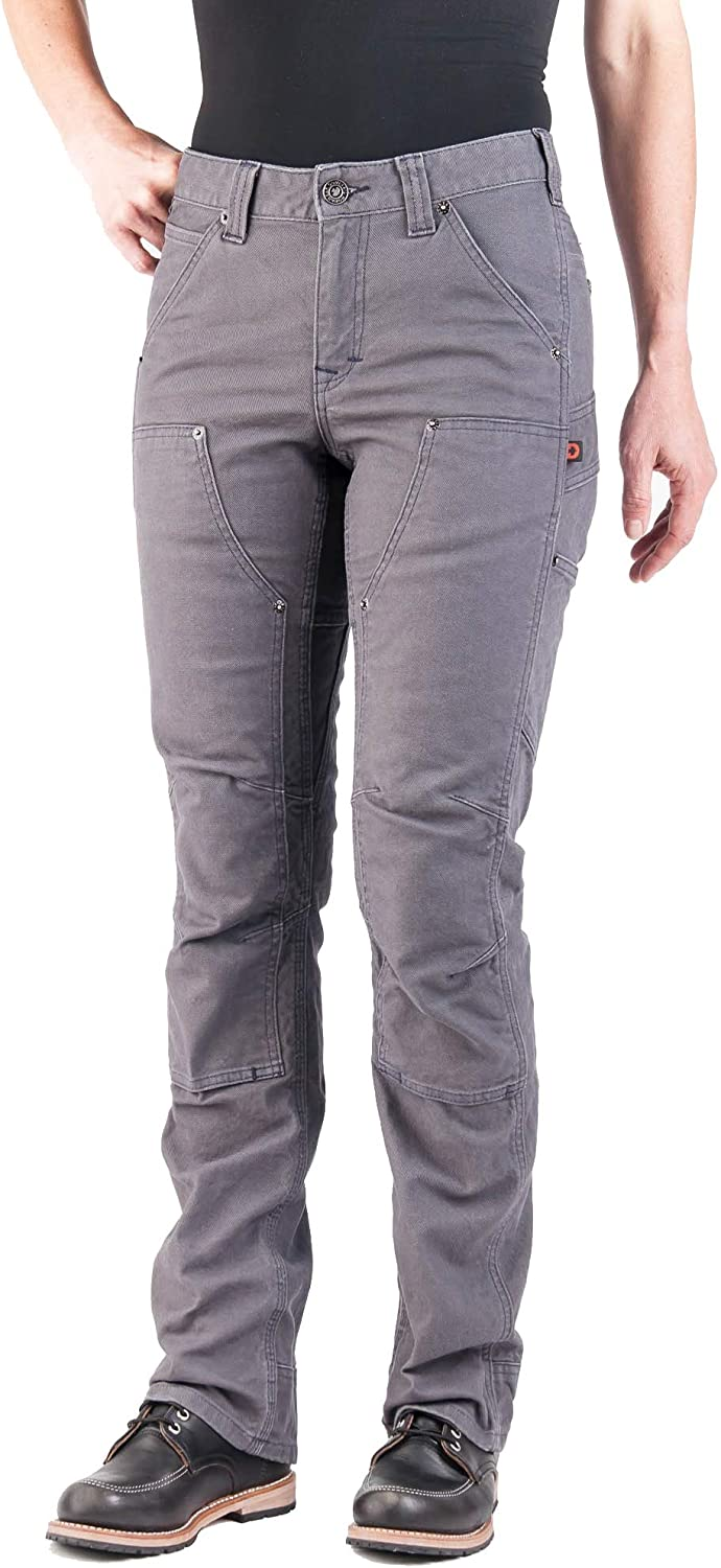 Dovetail Workwear Utility Pants for Women - Britt Utility Straight Fit Stretch Cargo Pant, Dark Grey Canvas, Size 4, 30