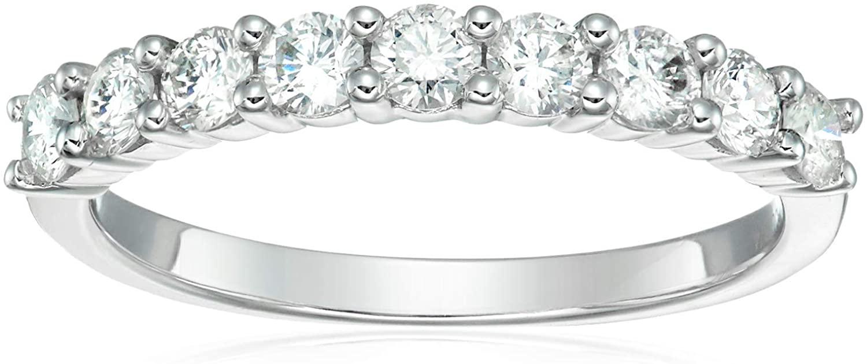 3/4 cttw Certified I1-I2 Diamond Wedding Band in 14K White Gold 9 Stones Round