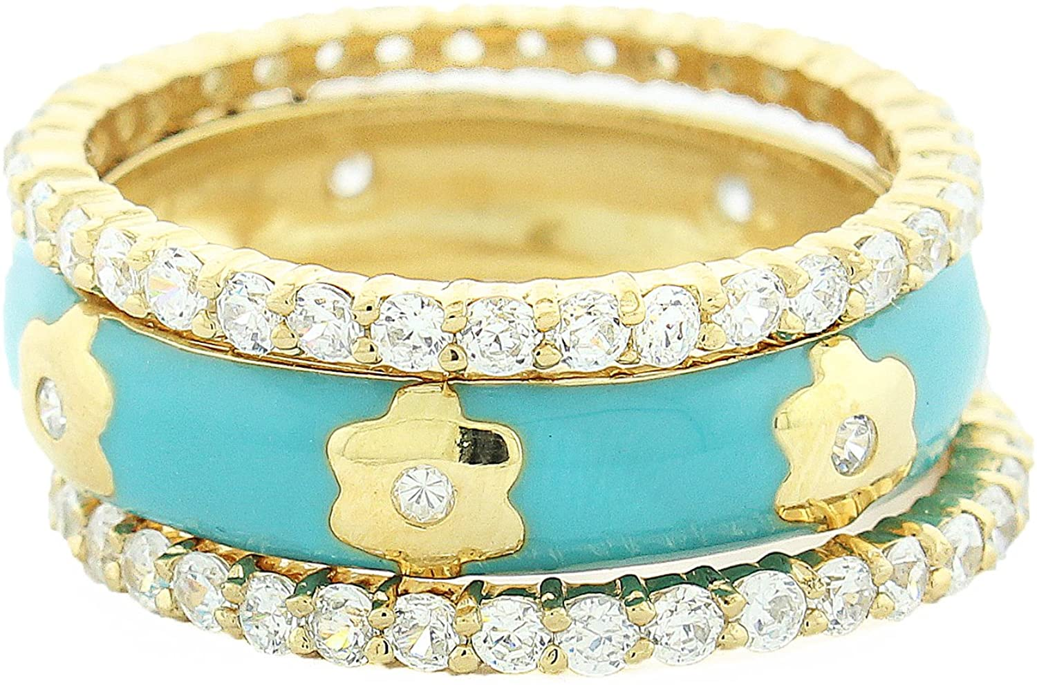 Gold Plated Sterling Silver Turquoise Enamel Center Band and Cubic Zirconia All-Around Stacking Band Rings