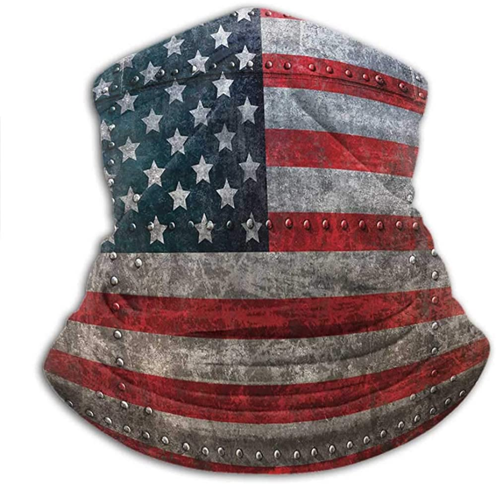 Neck Warmer American Flag Creative Personality Custom Scarf Royalty Flag Textured US Backdrop on Damaged Board Plate Design Artwork Print Red Grey