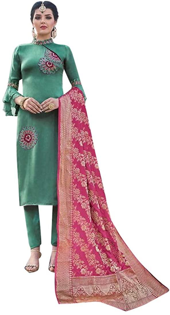 Designer Ethnic Satin Georgette Pant style Salwar Kameez Suit Women Indian Party wear 8310