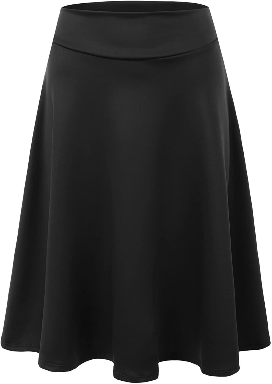 Doublju Womens High Waist Midi A-Line Skirt