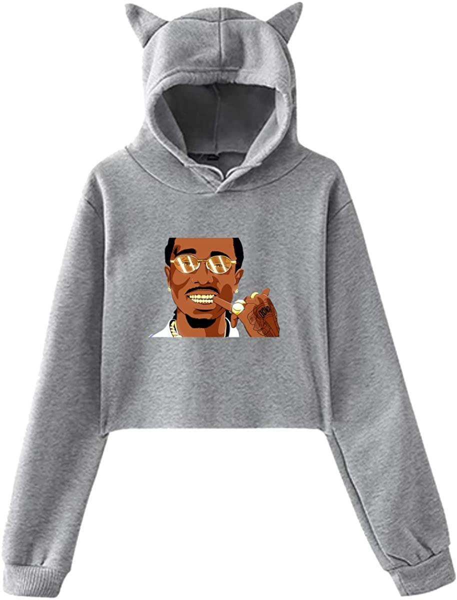 Hip Hop Rap Rr Hoodie Cat Ear Sweater Exposed Navel Fashion Kawaii Casual Sweatshirt for Womens Gray