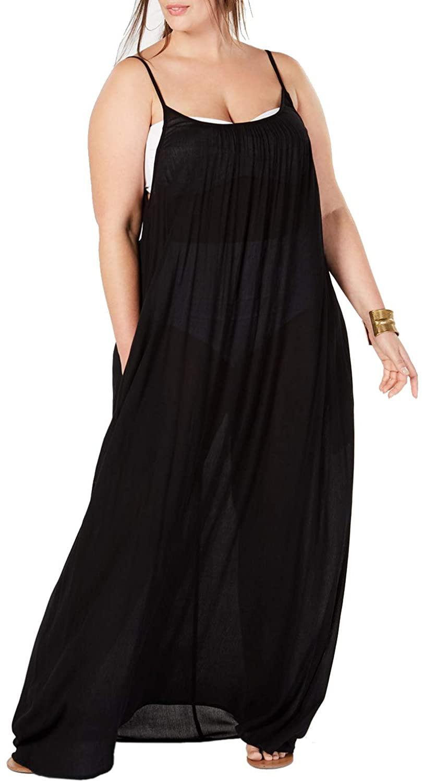 Womens Plus Size Maxi Cover Ups Beach Dresses Spaghetti Strap Backless Coverups Swimwear