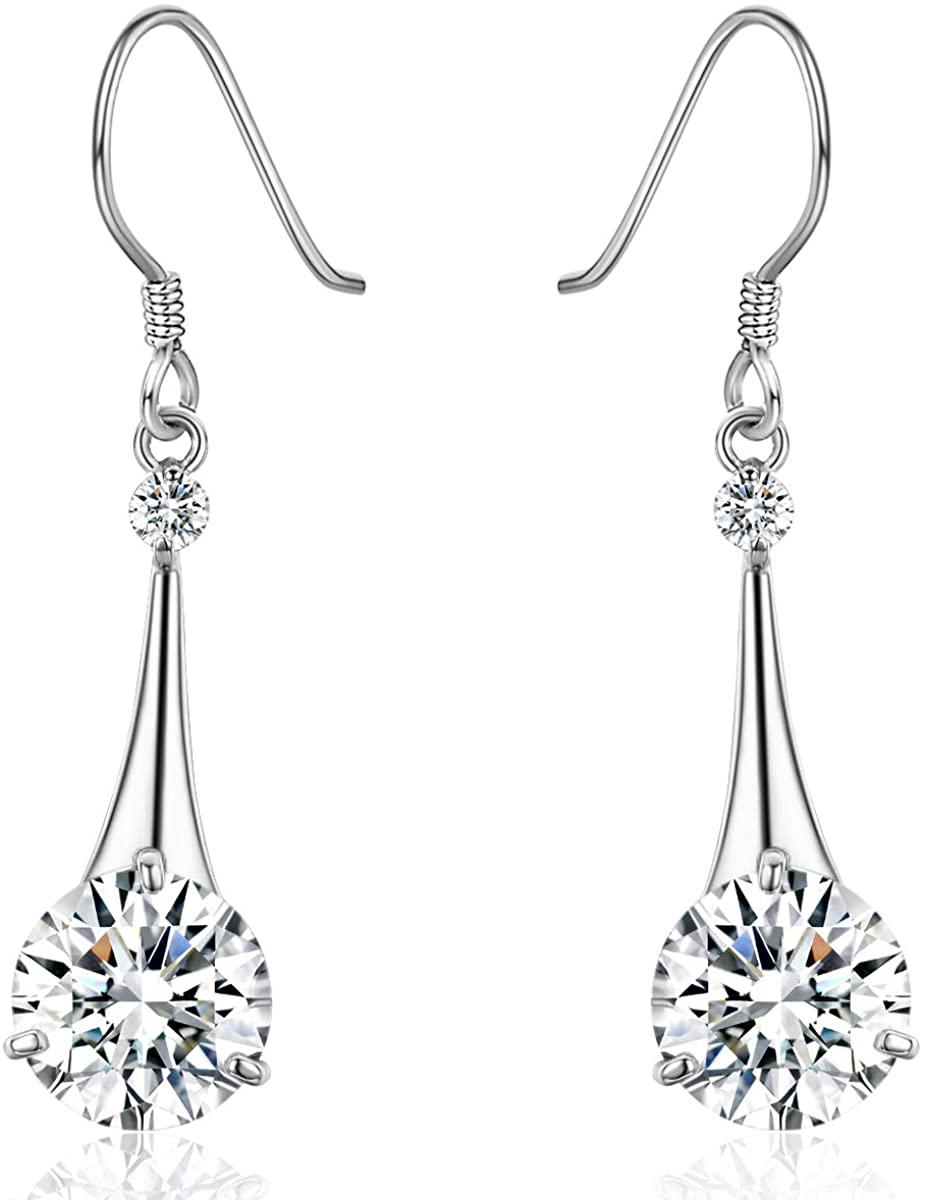 SBLING Platinum-Plated Silver Cubic Zirconia Tear Drop Earrings (6.5 cttw)