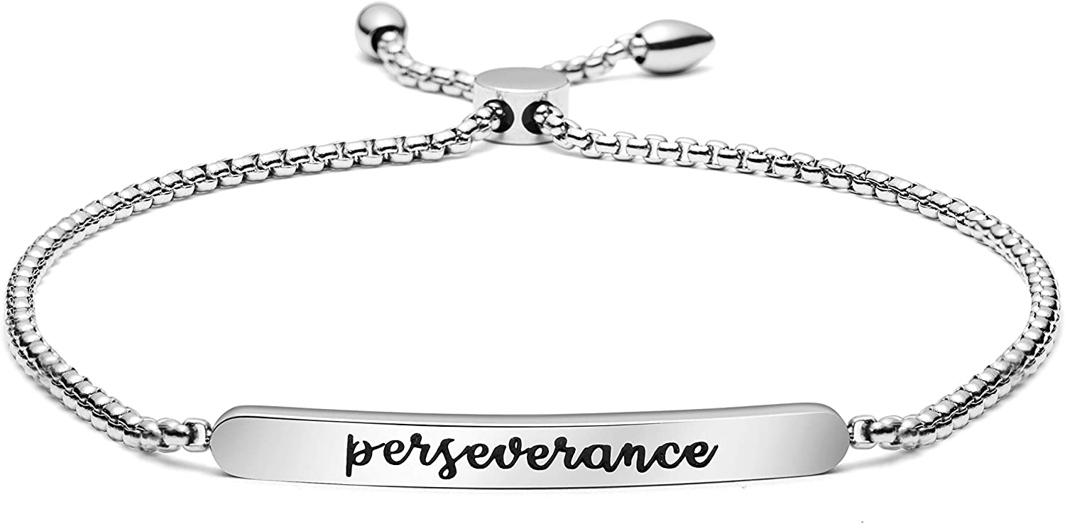 Joycuff Perseverance Bracelet Adjustable Chain Link Feminist Jewelry Encouragement Motivational Inspirational Women Empowerment Uplifting Message